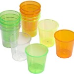 Plastic shot glasses.
