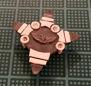 Detail on the bottom of a space marine dreadnought foot