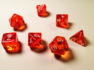 A set of dice for Dungeons and Dragons